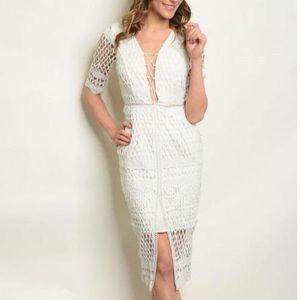 NWT White Laser Cut Out Dress Sz S